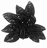 SEQUIN BEADS BLACK APPLIQUE SELLING PER PIECE