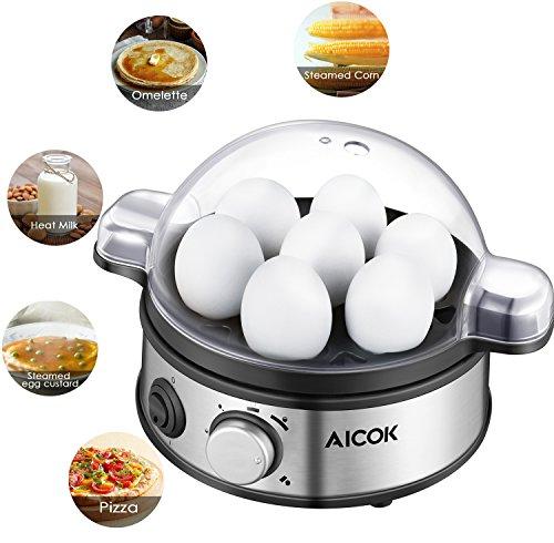 Aicok Egg Cooker  Egg Boiler  Hard Boiled Egg Cooker    Poached Egg Cooker  Rapid Egg Cooker  Scrambled Eggs  Or Omelets With Auto Shut Off With 7 Egg Capacity  Stainless Steel Egg Steamer  Timer Knob