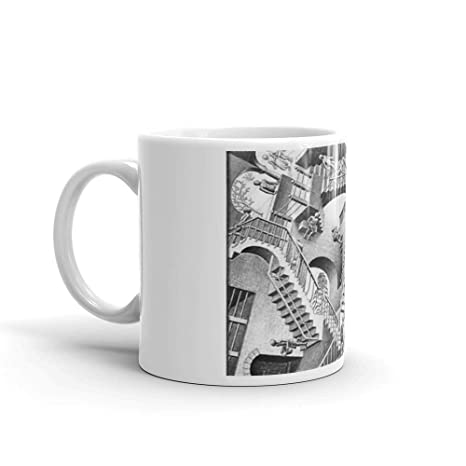 Amazon.com: MC Escher - Taza de cerámica blanca de 325 ml ...