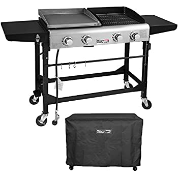 Royal Gourmet Portable Propane Gas Grill and Griddle Combo,4-burner,Griddle Flat Top, Folding Legs,Versatile Outdoor Camping Stove with Side Table,with ...