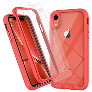 CellEver iPhone XR Case, Clear Full Body Heavy Duty Protective Case Anti-Slip Full Body Transparent Cover Fits Apple iPhone XR 6.1 inch (2X Glass Screen Protector Included) - Coral