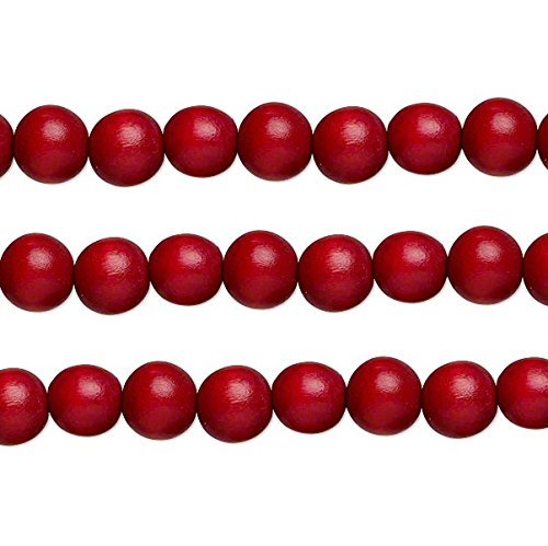Wood Round Beads Cranberry Red 6mm 16 Inch Strand