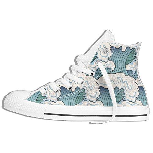 Classiche Sneakers Alte Scarpe Di Tela Antiscivolo Astratte Onde Del Mare Casual Da Passeggio Per Uomo Donna Bianco