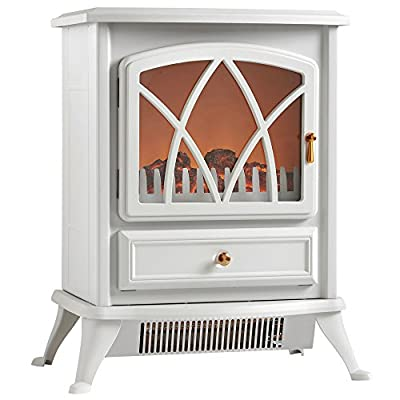 VonHaus Free Standing Electric Stove Heater Portable Home Fireplace with Log Burning Flame Effect Adjustable 1500W (16.8 x 10.8 x 20 Inches (Pale Stone Gray)