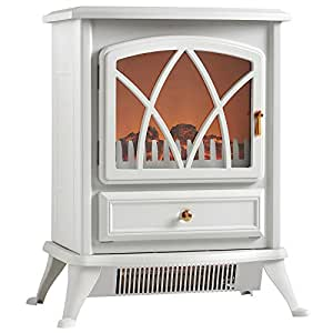 Vonhaus Free Standing Electric Stove Heater Portable Home Fireplace With Log Burning