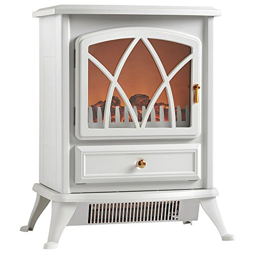 VonHaus 1500W Electric Stove Heater Portable Home Fireplace with Log Burning Flame Effect (16.8 x 10.8 x 20 (White Fireplace Heater)