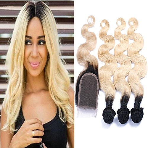 Carina Hair Ombre Hair Extension Brazilian Human Hair Body Wave Dark Roots Blonde T1B/613 Virgin Hair With Closure 3 Bundles With 1 Closure by Carina hair