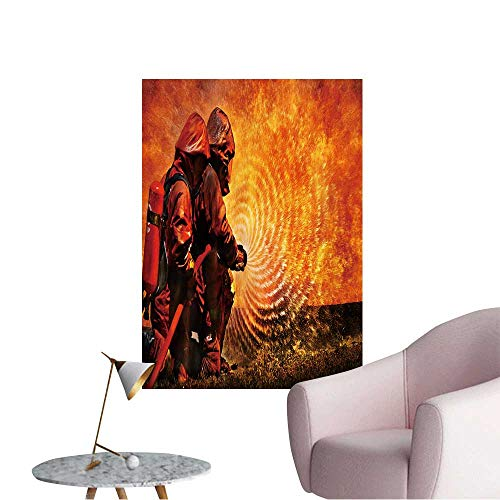 Modern Decor Firemen Using Extinguisher and Water from Hose for fire Fighting Ideal Kids Decor or Adults,16
