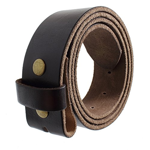 [Gelante Genuine Full Grain Leather Belt Strap without Belt Buckle G2016-BRN-M] (Leather Belt Strap)