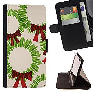 Jordan Colourful Shop - Christmas art drawing green red bow For Samsung Galaxy S4 IV I9500 - Leather Case Absorci???¡¯???€????€???????