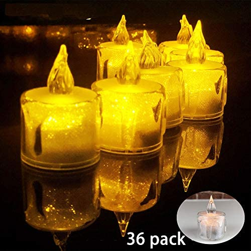 Tea Lights,36 Pack Flameless LED Tea Lights Candles,100 Hours Battery-Powered Tealight Candle,for Party,Wedding,Birthday, Memorial Day, and Home Decor Warm Yellow