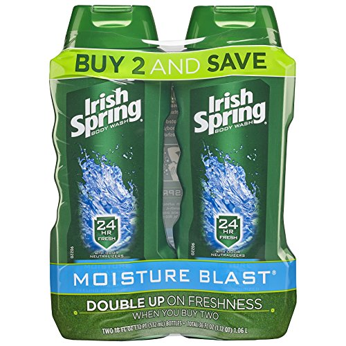 Irish Spring Moisture Blast,Body Wash Gel Douche - total 36 fl oz (Pack of 2)