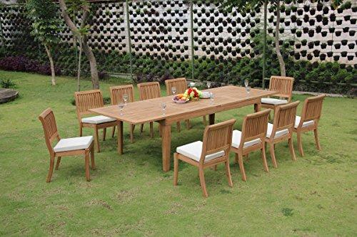 (TeakStation 10 Seater Grade-A Teak Wood 11 Pc Dining Set: Very Large Caranasas 122