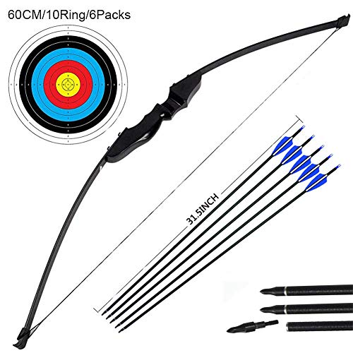 Outdoor Recurve Bow and Arrow Set Archery Training Toy(40LB,5×Arrows,6×Target Faces)