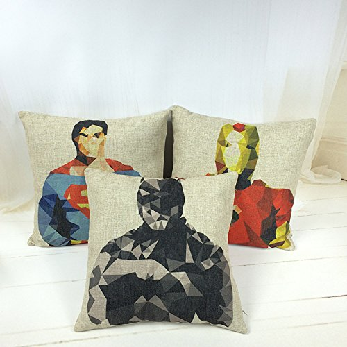 Cjeremy2000 Cotton Linen Superman Throw Pillow Cushion Cover Pillowcase 18 X 18 Inches (Series of three)