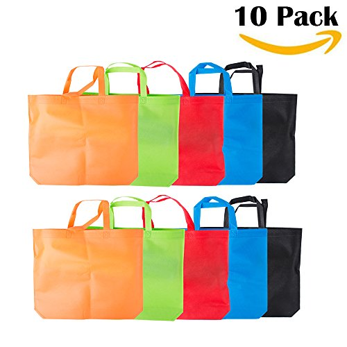 LazyMeReusable Grocery Bags, Set of 10,Large Tote Bags,18x14x4 inch Merchandise Bags, Multicolors (Multicolors)