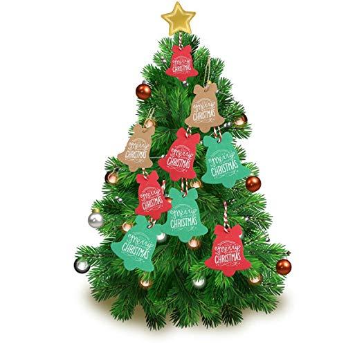BinaryABC Christmas Tree Hanging Tag,Christmas Gift Tags,Candy Bag Decoration,Xmas Party Decor Supplies 90pcs