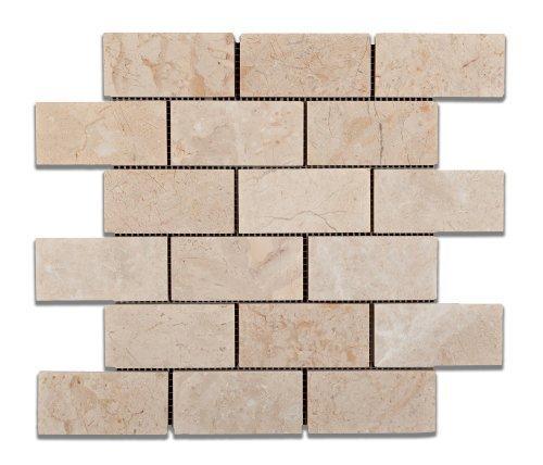 Bursa Beige / Sandy Beige Marble 2 X 4 Polished Brick Mosaic Tile - Box of 5 Sheets by Oracle Tile & Stone