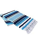 Vera Cruz 10 Pack Mexican Yoga Blankets (Turquoise/Navy/White)