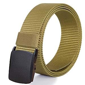 Fairwin Adjustable Nylon Web Belt Removable YKK Plastic Buckle, Nickel Free Hiking Belt. Brown