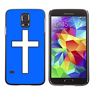 Graphic4You Cross Design Hard Case Cover for Samsung Galaxy S5 (Royal Blue)