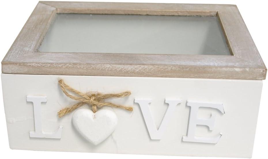 Caja de madera con tapa de cristal y madera corazón blanco: Amazon.es: Hogar