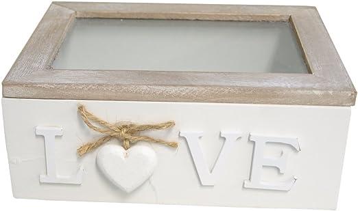 Caja de madera con tapa de cristal y madera corazón blanco: Amazon ...