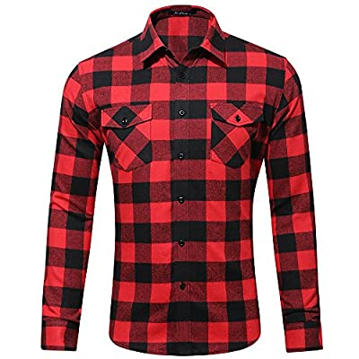 MAGE MALE Men's Long Sleeve Plaid Pattern Regular Fit 100% Cotton Flannel Turn Down Collar Casual Dress Shirts