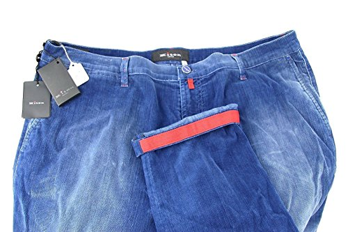 (Kiton Napoli Jeans Light Blue Velvet Corduroy Italy Size 42 US 82% Cotton New 65)