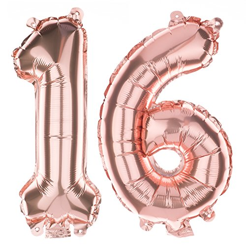 Ella Celebration Non-Floating 16 Number Balloons Sweet 16th Birthday Party Supplies Small Decorations (Rose Gold)