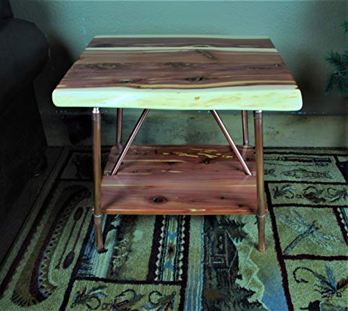 Niangua Furniture Live Edge Cedar Rustic End Table with Copper Pipes
