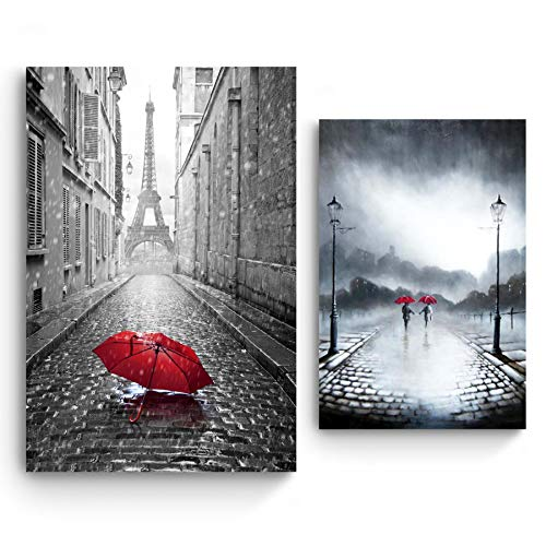 STARTONIGHT Canvas Wall Art | Black and White Love Red Umbrellas | Paris and Couple in The Rain | Buy one Get Two | Bundle Offer | Modern Home Decoration | Ready to Hang Paintings for $<!--$149.99-->