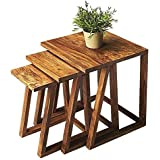 Mahima Handicraft Solid Wood Set of 3 Nesting Table | Corner Table | Side Table - Living Room & Outdoor Table