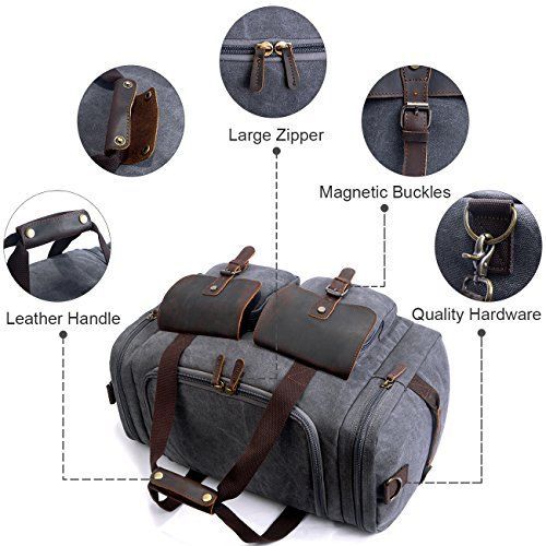 SUVOM Canvas Duffle Bag Leather Weekend Bag Carry On Travel Bag Luggage Oversized Holdalls for Men and Women(Dark Grey)