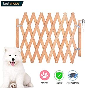 Hoomall Expanding Fence Wooden Screen Door Gates Doorways Portable Dog Pet Gate Pet Safety Patio Garden Lawn 104