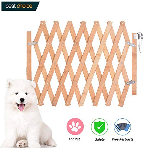 Hoomall Expanding Fence Wooden Screen Door Gates Doorways Portable Dog Pet Gate Pet Safety Kid Patio Garden Lawn