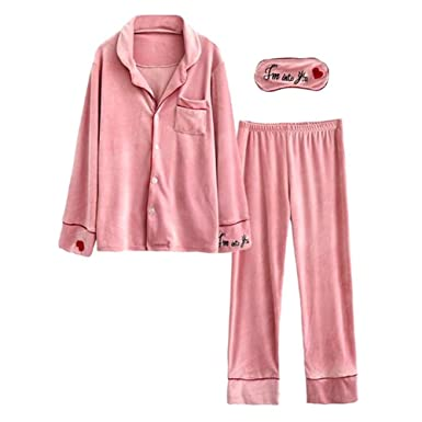 LeeQn Autumn Winter Women Heart-Shaped Embroidery Cotton Pajamas Lapel  Nightclothes at Amazon Women s Clothing store  20d7a193e
