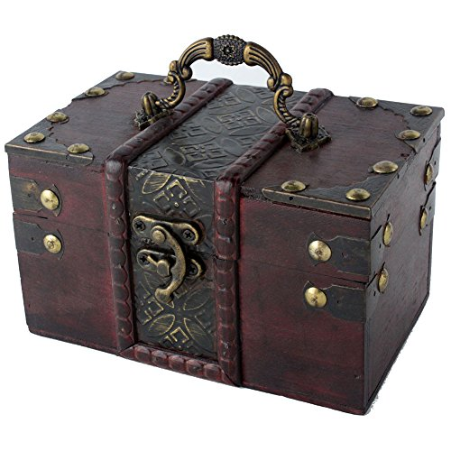 niceEshop(TM) Women Brown Retro Old Stye Wooden Jewelry Gift Box Case with Handle