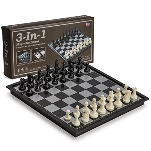 Travel Game Set - 3 in 1 Travel Magnetic Chess, Checkers, Backgammon, 9.8 Inches