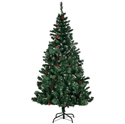 5FT Artificial Christmas Tree Pine Cones Durable Solid Metal Legs Premium Hinged Foldable Branches Indoor Outdoor Home Holiday Season Decoration Fresh Look Festive Atmosphere Easy Set Up And Storage (Storing Lights Icicle)