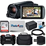 Canon VIXIA HF R800 Camcorder (Black) + 32GB Memory Card + Medium Digital Camera/Video Case + Extra Battery BP-727 + USB Card Reader + Vivitar Card Hard Case + Cleaning Kit – Value Accessory Bundle