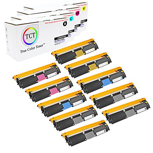 TCT Premium Compatible Toner Cartridge Replacement for QMS 2500 Konica Minolta Magicolor 2500W 2530DL 2550 Printers (Black, Cyan, Magenta, Yellow) - 10 Pack