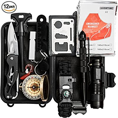 Emergency Survival Kit 13 in 1, Outdoor Survival Gear Tool for Camping, Hiking, Climbing, Traveling with Survival Bracelet, Emergency Blanket, Flashlight, Compass, Fire Starter by Chillax from Chillax