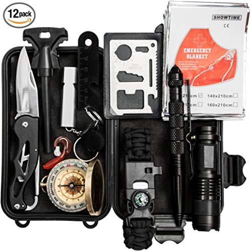 Chillax Emergency Survival Kit 13 in 1, Outdoor Survival Gear Tool for Camping, Hiking, Climbing, Traveling with Fire Starter, Survival Bracelet, Folding Knife, Flashlight, Tactical Pen