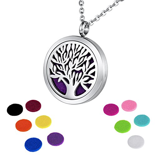 HOUSWEETY Aromatherapy Essential Oil Diffuser Necklace-Stainless Steel Tree of Life Locket