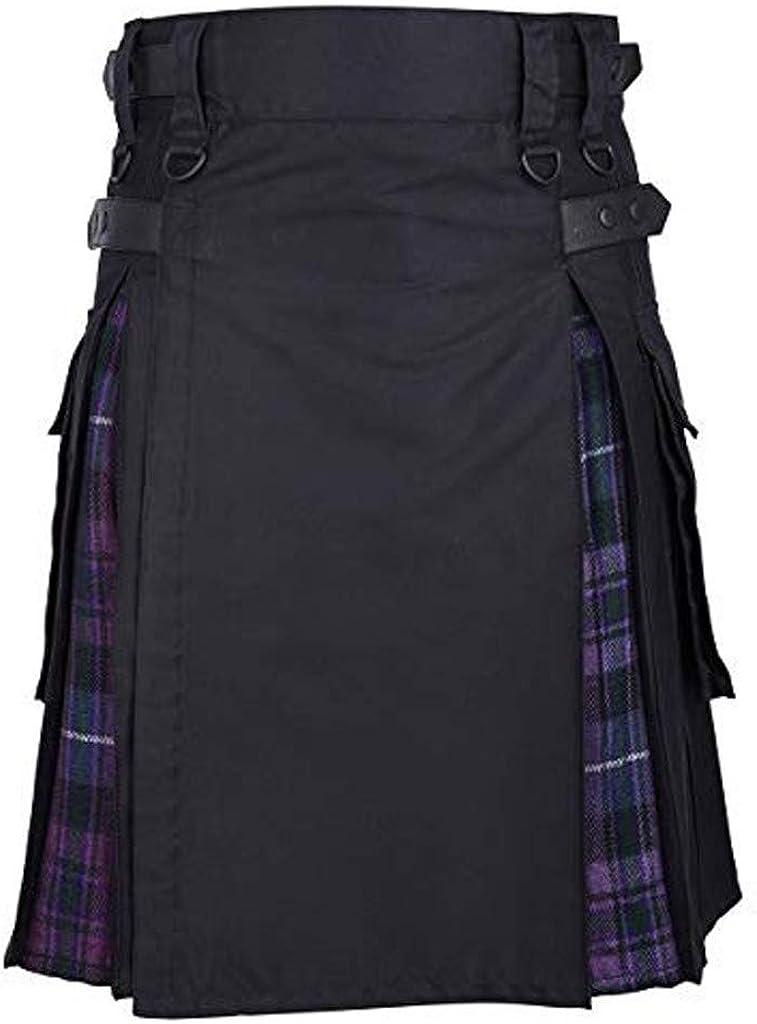 Goutique Utility Kilt Hybrid Modern Jeans Kilt New for Mens Highland Scottish Casual Tartan Kilt