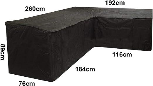 dDanke - Funda Protectora para Muebles de jardín de Exterior, Resistente al Agua, poliéster para sofá de Esquina en Forma de L (260 x 192 x 76 x 89 cm): Amazon.es: Jardín