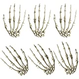 3 Pairs Halloween Skeleton Hands Plastic Life Size Hands for Halloween Decoration