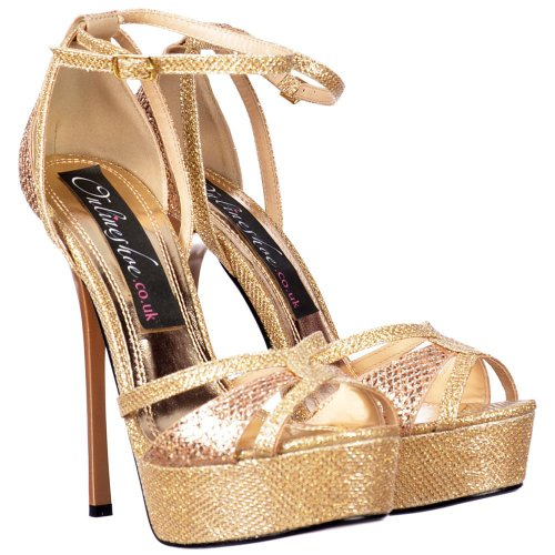 Glitter Gold Toe Gold Over Stiletto Damen Riemchen Toe Cross Peep Glitter Onlineshoe Glänzend Gold qtAvvPf