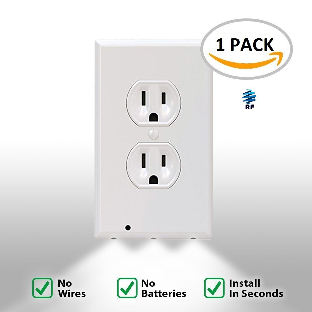 Snap it on outlet wall plate cover with led night lights no snap it on outlet wall plate cover with led night lights no batteries or wires installs in seconds duplex white electrical outlet cover plate aloadofball Choice Image